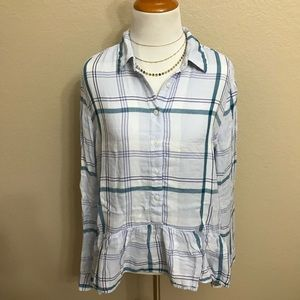 Express plaid peplum button down top